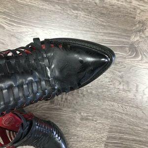 ibizia Shoes - Ibizia black leather strappy cubed heels